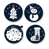 Symbols of new year: Father Frost, fir-tree, valen. Ok, snowman. Illustration for your design Royalty Free Stock Image