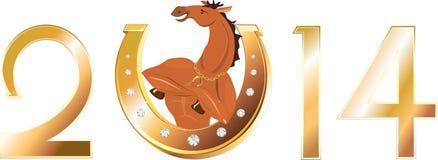 Symbols of the New Year. Golden horseshoe and athletic horse - symbols of the New Year Stock Images