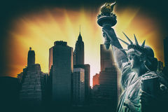 Symbols of New York City. Manhattan Skyline and The Statue of Liberty in NYC. Old vintage film photo stylization Stock Photography