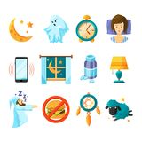 Symbols of night. Sleeping icon set. Insomnia. And sleep night, dream and nap, vector illustration Royalty Free Stock Photo