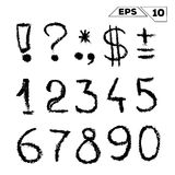 symbols and numbers hand drawn stock illustration