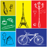 Symbols of Paris in a colored rectangle Stock Image