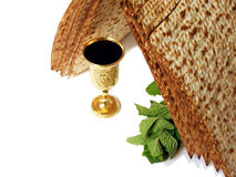 Symbols of Passover. The unleavened bread and bitter herbs Stock Photo