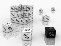Symbols of percent on cubes Stock Photography