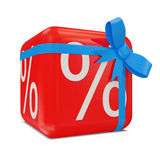 Symbols of Percent on Red Cube with Blue Bow (Sale. Concept). 3d Image Stock Photos