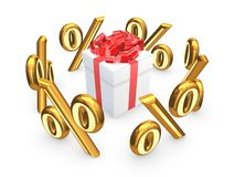 Symbols of percents around gift box.. Stock Photo