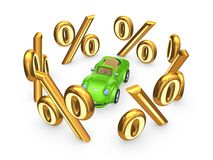 Symbols of percents around green car. Royalty Free Stock Photos