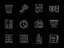 Business accessories flat line icons set. Symbols of personal business accessories. Office equipment, work organization concept. Set of white flat line design Stock Images
