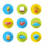 Symbols of planning summer vacation, tourism and journey objects. Illustration symbols of planning summer vacation, tourism and journey objects, flat colorful Royalty Free Stock Photography
