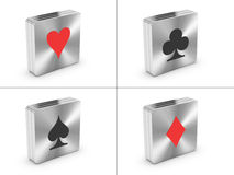 Symbols of playing cards. Printed on metal blocks, on white background royalty free illustration