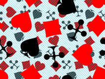 Symbols of playing cards. Seamless pattern symbols of playing cards for a casino in a vector Stock Photography