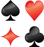 Symbols of playing cards Stock Images