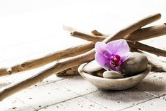 Symbols of purity with mineral elements. Natural elements for beauty spa treatment Royalty Free Stock Images