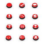 Symbols on red push buttons Royalty Free Stock Image