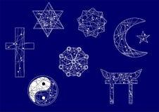 Symbols of religion. On blue background Royalty Free Stock Photo
