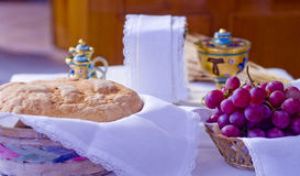 Symbols of religion : bread and wine Royalty Free Stock Image
