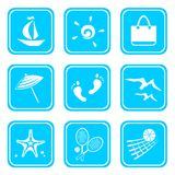 Symbols of rest. Nine symbols of rest isolated on a blue background Stock Image