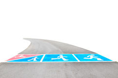 Symbols of the road for exercise on public park Stock Images