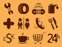 Symbols roadside services. Royalty Free Stock Photography
