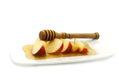 Symbols of Rosh Hashana. Honey and apple  are symbols of Jewish New Year - rosh hashanah Stock Image