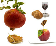 Symbols of Rosh Hashana. Honey,apple and pomegranate are symbols of Jewish New Year - rosh hashanah Stock Photo