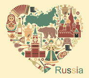Symbols of Russia in the form of heart Royalty Free Stock Images
