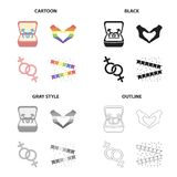 Symbols of same-sex love, heart, hand gesture, colorful flags. Sexual minority set collection icons in cartoon black. Monochrome outline style vector symbol Stock Image