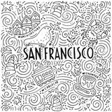 The symbols of San Francisco in pattern. The San Francisco words and the different symbols of the city in the spiral pattern vector illustration Royalty Free Stock Photography