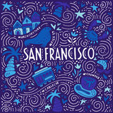 Symbols of San Fransisco. Illustration of San Fransisco with symbols of the city. Vector doodle illustration Royalty Free Stock Image