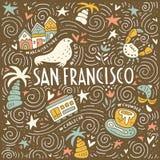 Symbols of San Fransisco. Illustration of San Fransisco with symbols of the city. Vector doodle illustration Stock Images