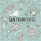 Symbols of San Fransisco. Vector illustration with symbols of San Fransisco made in doodle style with lettering Royalty Free Stock Photo