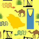 Symbols of Saudi Arabia seamless pattern. Desert and oil pumps, Royalty Free Stock Image