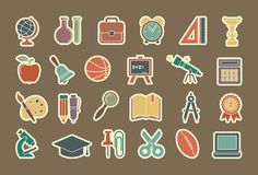 Symbols of school and education Stock Images