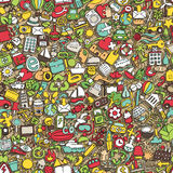 Symbols seamless pattern. (repeated) with mini doodle drawings (icons). Illustration is in eps8 vector mode Stock Images