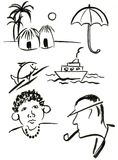 Symbols set 3. Drawings of different  objects with brush and ink Royalty Free Stock Image