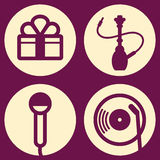 Symbols Set. Vector icons for bars and karaoke Royalty Free Stock Images