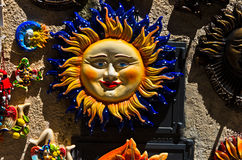 Symbols of Sicily as touristic souveniers at streets of Erice Royalty Free Stock Photo