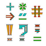 Symbols and signs for alphabet. Vector illustration symbols and signs for alphabet drawn in the form of a house. The letters of the alphabet to teach children Stock Image