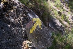 Symbols and signs in the forest paths Stock Photos