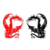 Symbols, Silhouette of a fighting dragon red, black, sharp tai. L, on white background, vector Royalty Free Stock Photo