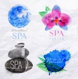 Symbols spa watercolor. Set of symbols icons spa natural stones symbols orchid water droplets stylized watercolor painting Stock Image