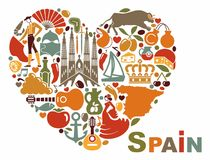 The symbols of Spain in heart shape