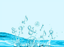 Symbols splashing in water Stock Photo