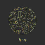 Symbols of spring in the style of line, located in the circle. Royalty Free Stock Images
