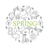 Symbols of spring in the style of line, located in the circle. Stock Image