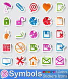 Symbols stickers icon and buttons. Vector - illustration : Set of symbols stickers in five colors Stock Photo