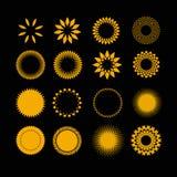Symbols sun in set Royalty Free Stock Photo