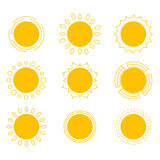 Symbols of the sun. Royalty Free Stock Photo