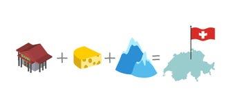 Symbols of Switzerland. Mathematical formula: Bank and cheese pl Stock Image