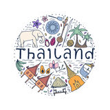 Symbols of Thailand. Hand drawn design concept with the main att Stock Images
